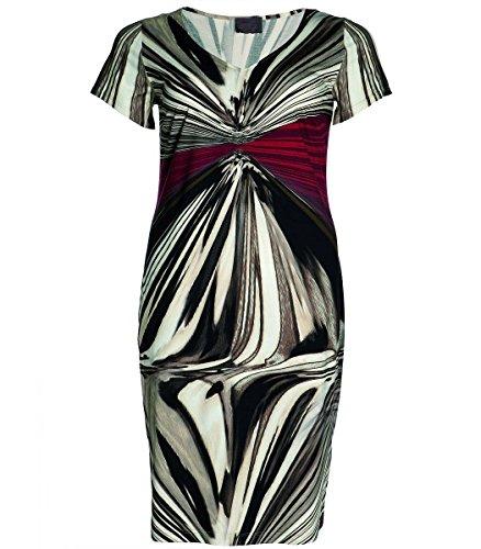 Sempre piu XXL Damen Kleid in Übergröße A-Linie Weinrot Beige Kurzarm V-Ausschnitt, Große Größen, Größe:56