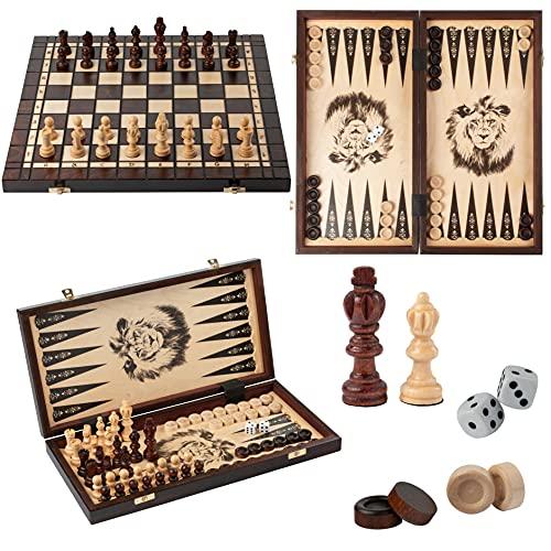 Master of Chess Juego de 3 juegos en 1 de 40 x 40 cm, juego de ajedrez olímpico de madera y damas