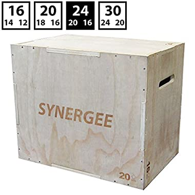 iheartsynergee 3 in 1 Wood Plyometric Box for Jump Training and Conditioning. Wooden Plyo Box All in One Jump Trainer. Size - 24/20/16