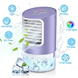 Page Hodge Personal Evaporative Air Cooler, Humidifier Portable Mini Space Air Conditioners Desk Fan with 3 Wind Speeds for Room Office Home Travel, Purple