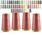 LIALINA - 4 Conos de Hilos Overlock 100% Poliéster (153 Rosa Antiguo) para Coser a Máquina y Remallar – 40S/2, 3000 Yardas – Hilo Para Remalladora Resistente, Duradero, Colores Brillantes de Máxima Calidad