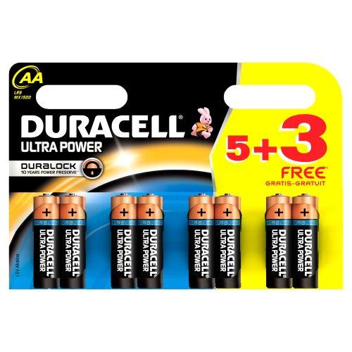 Duracell Ultra Power - Pila alcalina AA (paquete de 5 + 3 unidades)