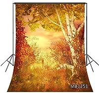 LB 背景布 1.5×2.1m/5x7ft 秋の風景 自然風景 森 漫画風 写真撮影 バックペーパー 人物/商品撮影 背景シート 撮影スタジオ用 アイロンかけ可 折り畳み可 新婚撮影