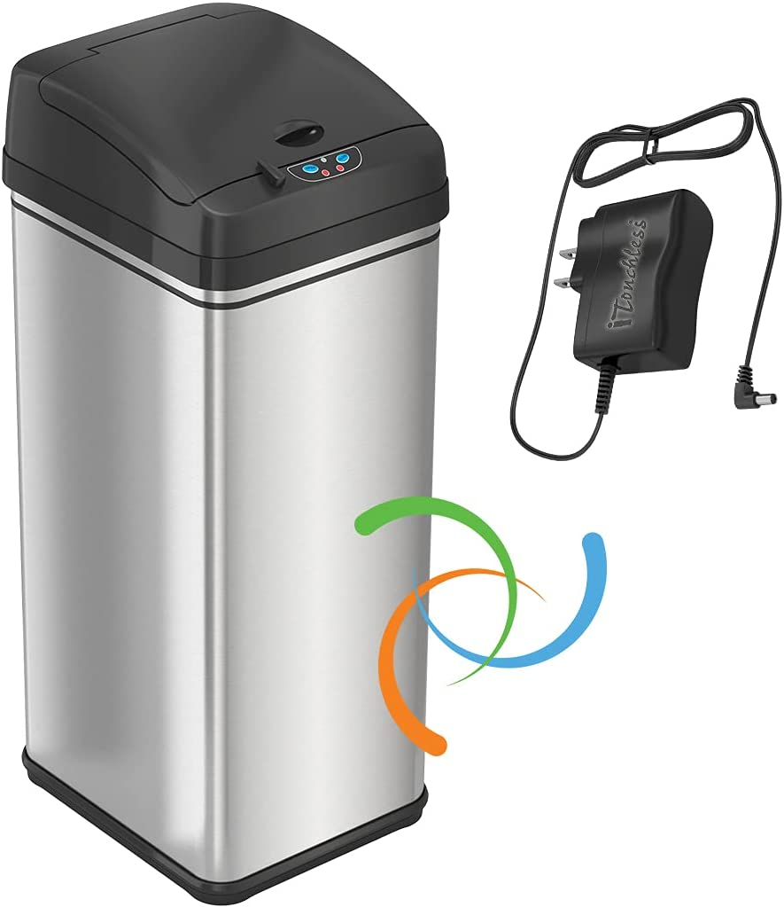 iTouchless 13 Gallon Sensor Trash Adapter Battery-F Louisville-Jefferson County Denver Mall Mall Can with AC