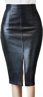 Women Pu Leather Split Midi Skirts High Waist Bodycon Pencil Skirts