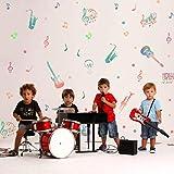 KAIRNE 45 Pcs Sticker Mural Musique Colorée,Aquarelle Autocollant Mural de Notes de Musique,Instrument de Musique Stickers Muraux Amovibles pour Studio de Musique de Chambre D'enfant de Classe Décor