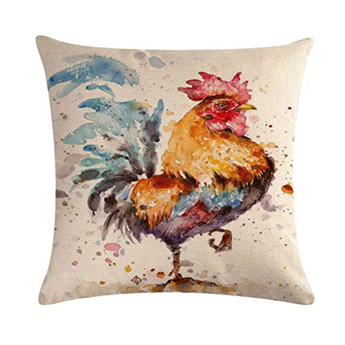 """7COLORROOM Watercolor Rooster Decorative Cushion Case Art Colorful Chicken Pillow Covers Rustic Farmhouse Rooster Pillowcases 18""""x18"""" (Rooster)"""