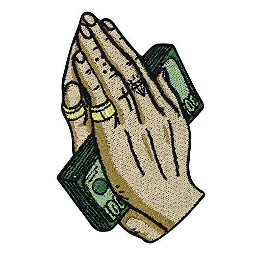Pray for Money Patch zum Aufbügeln | Hip Hop Patches, Dollar Bügelflicken, Hände Tattoo Flicken, Finger Aufnäher Finally Home