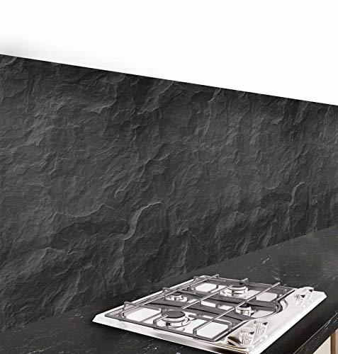 CREARREDA Pannello paraschizzi Cucina Adesivo da Parete Pietra Nera 190_x_60_cm 100% Made in Italy con Inchiostro atossico, ignifugo e Resistente all'Acqua
