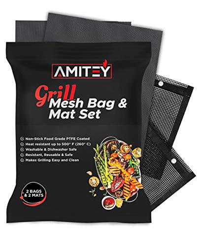 AMITEY BBQ Grill MATS – Buy 2 MATS (15.7x11.8 inches) and GET 2 MESH Bags in ONE Package! 100% PFOA Free, Non-Stick, 500°F Resistant, Reusable and Washable. Perfect for Healthy and Clean Grilling