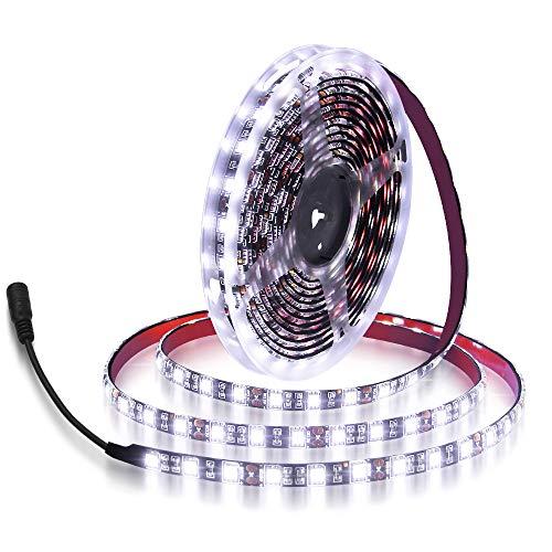 ALITOVE 16.4ft 5050 SMD Black PCB Cool White LED Flexible Strip Ribbon Light 5M 300 LEDs Waterproof IP65 DC 12V for Home Garden Commercial Area Lighting