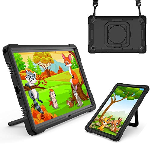 TOPCASE Funda Anticaída para Samsung Galaxy Tab A7 10.4' SM-T500/T505/T507 2020 Carcasa Rugosa con Soporte Rotación,Negro