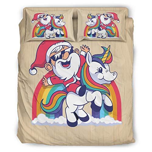 Ftcbrgifk Juego de sábanas de 4 piezas, diseño de unicornio de Papá Noel de Navidad, juego de cama king hipoalergénico reversible para acampar para tus amigos blanco 175 x 218 cm