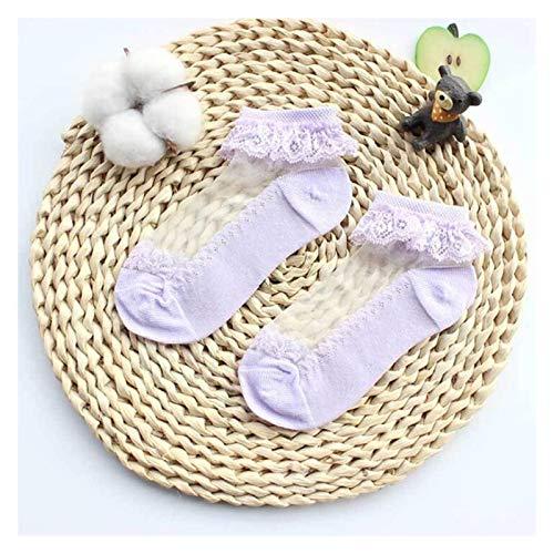 QIANXIMY Calcetines Lindo Encaje Flor de Malla Verano Calcetines recién Nacidos algodón Calcetines Ver a través de Calcetines Antideslizantes (Color : Purple, Size : 6 8 Years)
