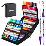 100 Colors Art Markers Set, Ohuhu Dual Tips Coloring Brush Fineliner Color Marker Pens, Water Based Marker for Calligraphy Drawing Sketching Coloring Bullet Journal Christmas Art Supplies Gift