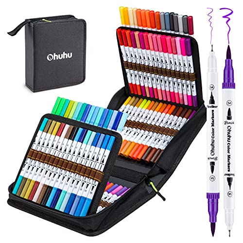 100 Colors Art Markers Set, Ohuhu Dual Tips Coloring Brush Fineliner Color Marker Pens, Water Based Marker for Calligraphy Drawing Sketching Coloring Bullet Journal Back to School Art Supplies Gift