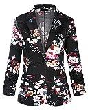 MINTLIMIT Damen 3/4 Geraffte Ärmel Vorne Offen Leicht Arbeit Büro Blazer Jacke mit Seitentaschen(Blumen Pink,Größe XL)