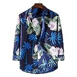 Camisas De Manga Larga Para Hombre - Camisa De Lujo Hawaiana Para Hombre - Camisas Aloha De Playa Con Botones De Manga Larga - Flores Sueltas Retro Impresas Ropa Informal Superior De Hawaii Para V