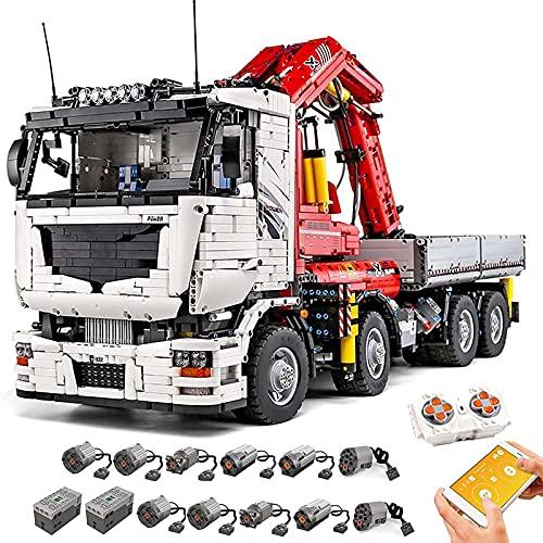 HAIRCURLER Technik Kran LKW Modell, Mould King 19002, 8238 Teile, Groß Klemmbausteine Bauset, Kompatibel mit Lego TechnikCrane truck-19002