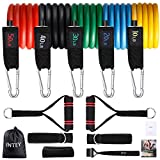 INTEY Resistance Bands Set (13 Pcs), 5 Stackable Tube Exercise Bands with 2 Handles, 1 Door Anchor, 2 Ankle Straps, 1 Protective Cover for Your Whole Body Resistance Workouts Training