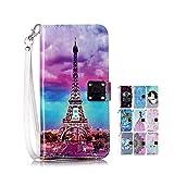 LA-Otter Glitzer Hülle Kompatibel für Apple iPhone 6S 6 Bling Leder Wallet Cover Tasche Handyhüllen mit Kartenfach Schutzhülle Flip Case - Eiffelturm Paris
