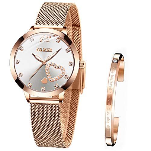Armbanduhr Damen Lässige Mode wasserdichte Rosegold Edelstahlband Quarz Uhren Geschenke für Frauen