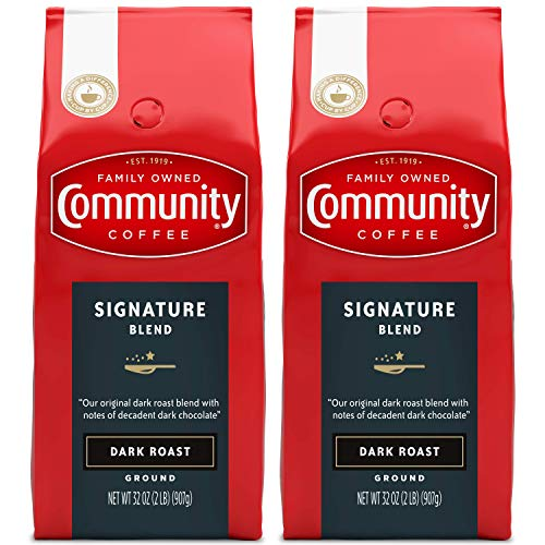 Community Coffee Signature Blend Dark Roast, Ground, 32 Ounces (Pack of 2)