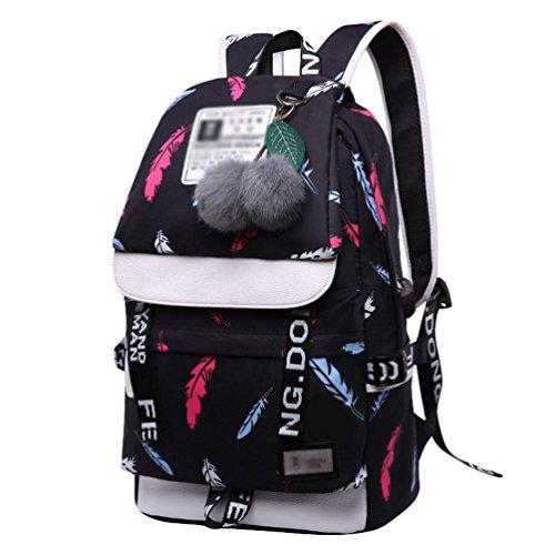 WanYangg Damen Mädchen Canvas Rucksack Schulrucksack Reisetasche Casual Daypacks Cityrucksack Für Universität Outdoor Freizeit Badminton schwarz(mit Haarige Kugel)