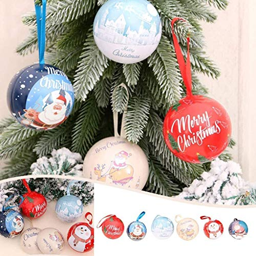 MGE 6 Pcs Christmas Balls Shatterproof Tree Ball for Crafts Fillable Ornaments, Cute and Creative Christmas Tree Candy Iron Balls Pendant Xmas Detachable Candy Box Hanging Ornament