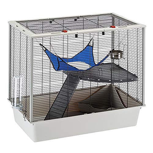 Ferplast Confortable jaula para hurones y ratones FURAT, Estructura en varios niveles con accesorios incluidos, Esquinas reforzadas, roja, 78 x 48 x h 70 cm