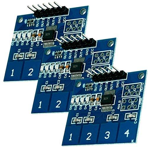 AZDelivery 3 x TTP224 4-Kanal Digitaler Berührungssensor Kapazitiver Touch Modul kompatibel mit Arduino und Raspberry Pi