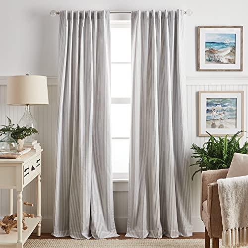"MARTHA STEWART Ticking Stripe Blackout Lining Rod Pocket/Back Tab Window Curtain Panel Pair, 95"", White/Grey"