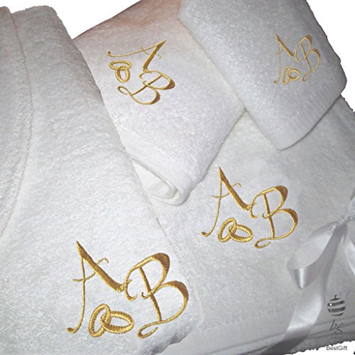 BGEUROPE - Juego de 5 estrellas de regalo de boda personalizado para aniversario, toallas de baño y albornoz con bordado dorado (XL)