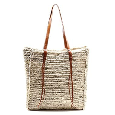 Beach Bag by Miss Fong, Straw Beach Tote Bag for Women with Inner Zipper Pocket and Leather Handle