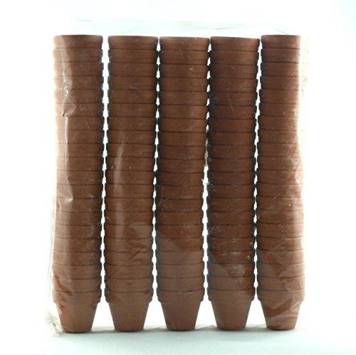 Shophaus24 100 Stück kleine Tontöpfe, Pflanzentöpfe, Aufzuchttöpfe. Höhe 3cm