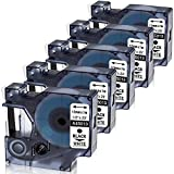 Nastro Oozmas Compatibile In sostituzione di Dymo 45013 12mm x 7m, Compatibile Dymo Label Manager LM160 LM210d LM260p LM280 LM360d LM420p,(Nero su Bianco, confezione da 5)