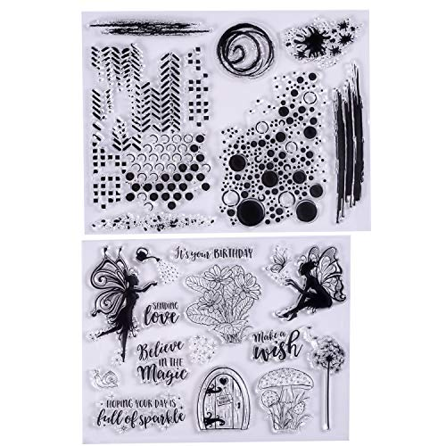 MaGuo Rubber Clear Stamp Set Fairy Flower and Decoration Blackground for Card Making and Scrapbooking