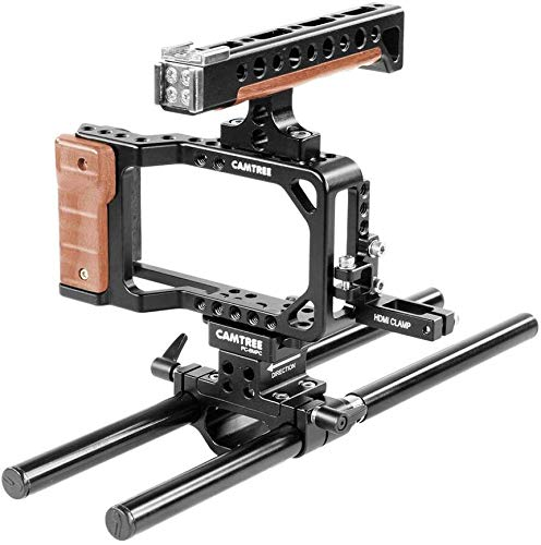 CAMTREE Hunt Professional Aluminum Camera Cage for Blackmagic Pocket Cinema Camera BMPCC with Top Handle + Cold Shoes + 15mm Rod Support   Tripod & Accessories Mounting Options (CH-PC-BMPC)