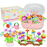 YOSH KIDS Flower Garden Building Toys – Pretend Play Child Gardening and Build a Garden Kid Activity Set for 3 4 5 6 Year Old Toddlers and Preschool Children - Creative STEM Toy Gifts for Girls