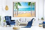 Oedim Vinilo Ventana Playa Palmeras | 85x75cm | Adhesivo Incluido | Decoracion Habitación | Pegatina Adhesiva | Multicolor | Diseño Profesional