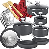 Dealz Frenzy Hard Anodized Nonstick 20 Piece Induction Cookware Pots and Pans Set,Highly...