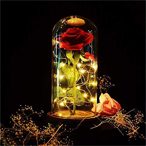 SUNASQ La Bella e la Bestia Rose, LED Rosso Rosa di Seta Luce con Rosa incantata con Petali caduti in Cupola di Vetro su Base in Legno Alimentato a Batteria Regalo per San Valentino Matrimonio Natale