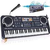 MaSYZBF Teclado de Piano electrónico, 61 Teclas, Teclado electrónico portátil, 16 Tonos, Recargable por USB, Piano eléctrico multifunción con micrófono para Principiantes, niños, Adultos,Black