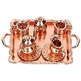 Artibetter Juego de Tazas de Té en Miniatura Juego de Vajilla de Aleación Retro de Porcelana Modelo de Escritorio Ornamento Casa de Muñecas Accesorio de Cocina para Niños Regalo de