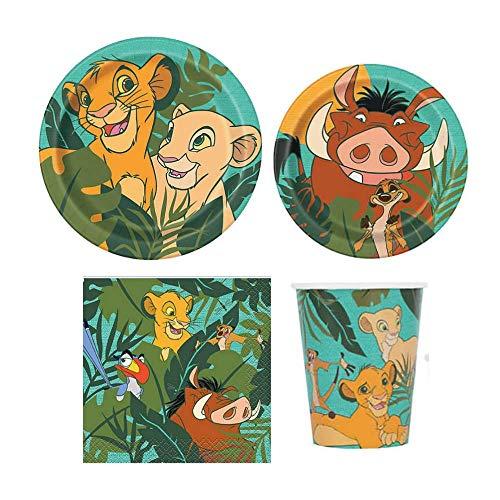 Juego de vajilla infantil para fiesta de león con platos, servilletas y tazas, pies Simba, Nala, Timon y Pumbaa