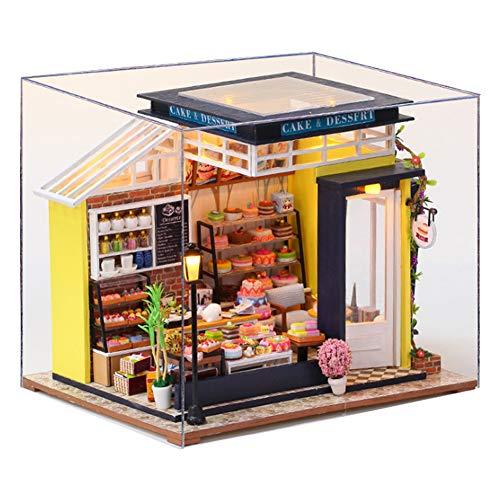 XLZSP DIY miniatura casa de muñecas kit 3D calle pastel tienda modelo madera dulce tienda montado a mano muñecas casa creativo juguete cumpleaños