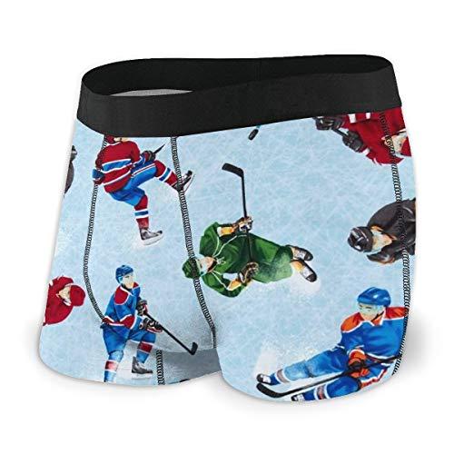 LAOLUCKY - Calzoncillos Tipo bóxer para Hombre con diseño de Hockey sobre Hielo,...