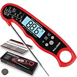 KULUNER Waterproof Digital Instant Read Meat Thermometer with 4.6 Folding Probe Backlight & Calibration Function for Cooking Food Candy, BBQ Grill, Liquids,Beef(red)