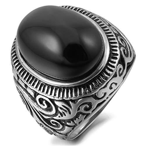 MunkiMix Acero Inoxidable Anillo Ring Ágata El Tono De Plata Negro Talla Tamaño 25 Hombre
