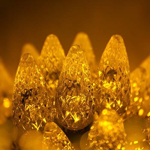 Wintergreen Lighting 70 C6 Gold LED Christmas Lights Indoor-Outdoor Christmas String Lights, 24 Ft, Gold Christmas Lights LED String Lights for Bedroom Dorm Lights
